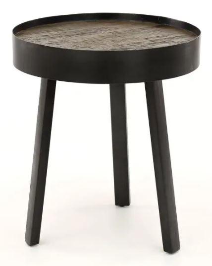 Bijzettafel Teca Ø45 van 52 cm hoog – Grijs met Teakhout greywash   Zaloni