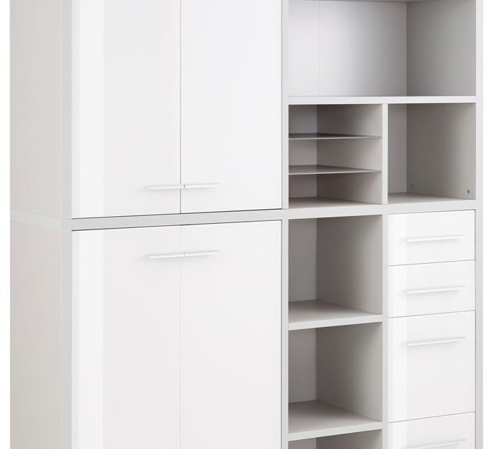 Boekenkast Banco Medium – Platina grijs met wit | Bermeo