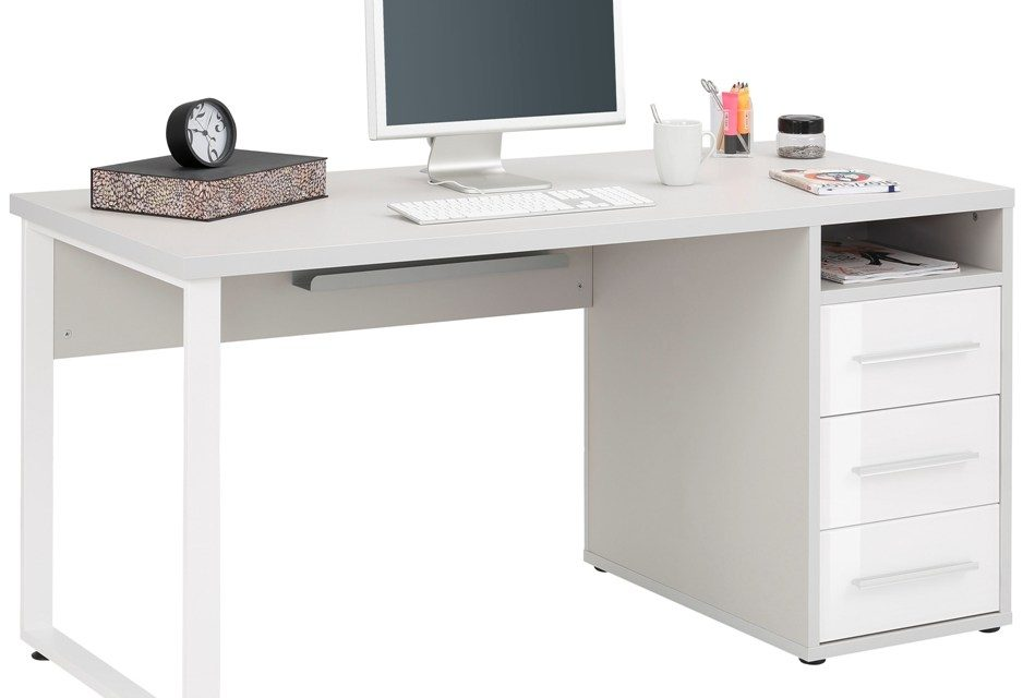 Bureau Banco 150 cm breed – Platina grijs met wit | Bermeo