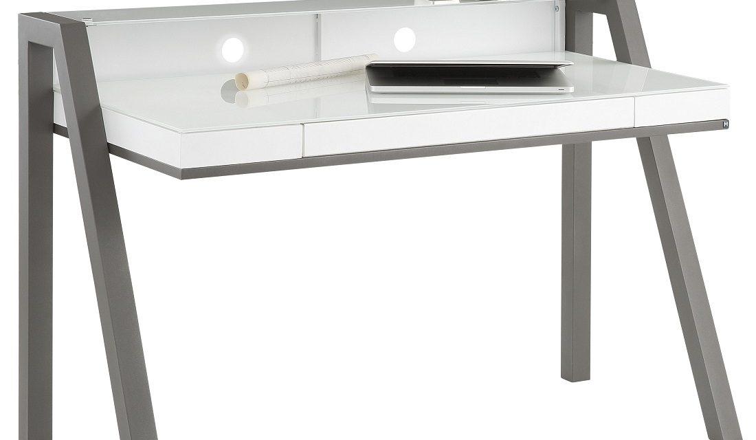 Bureau Hugo 130 cm breed – wit met antraciet | Bermeo
