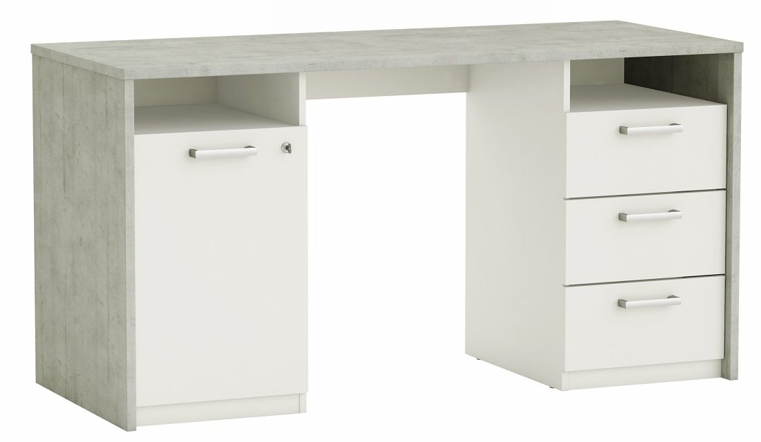 Computer Bureau Stanford 145 cm breed – Grijs beton met wit | Young Furniture