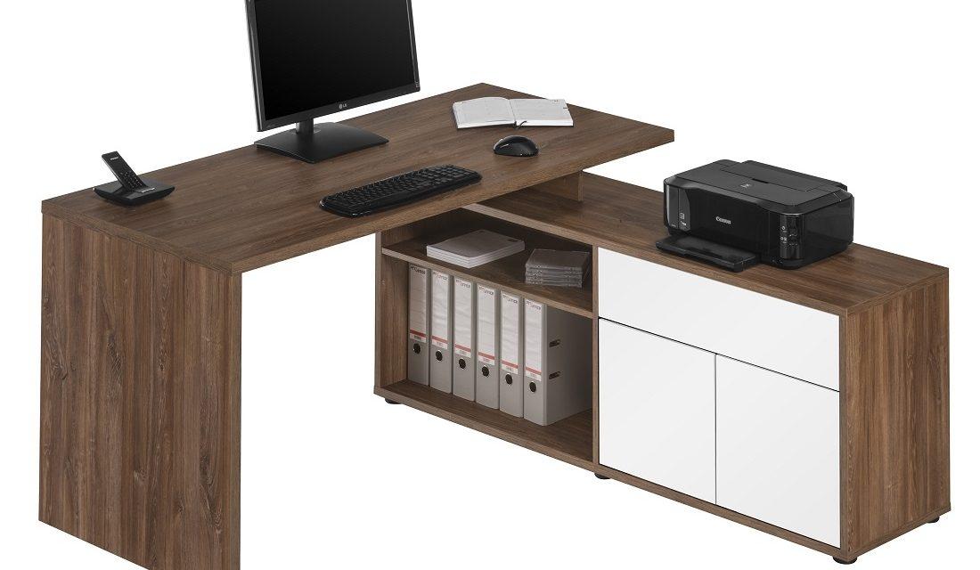 Computer hoekbureau Flex – Donker eiken met wit | Bermeo