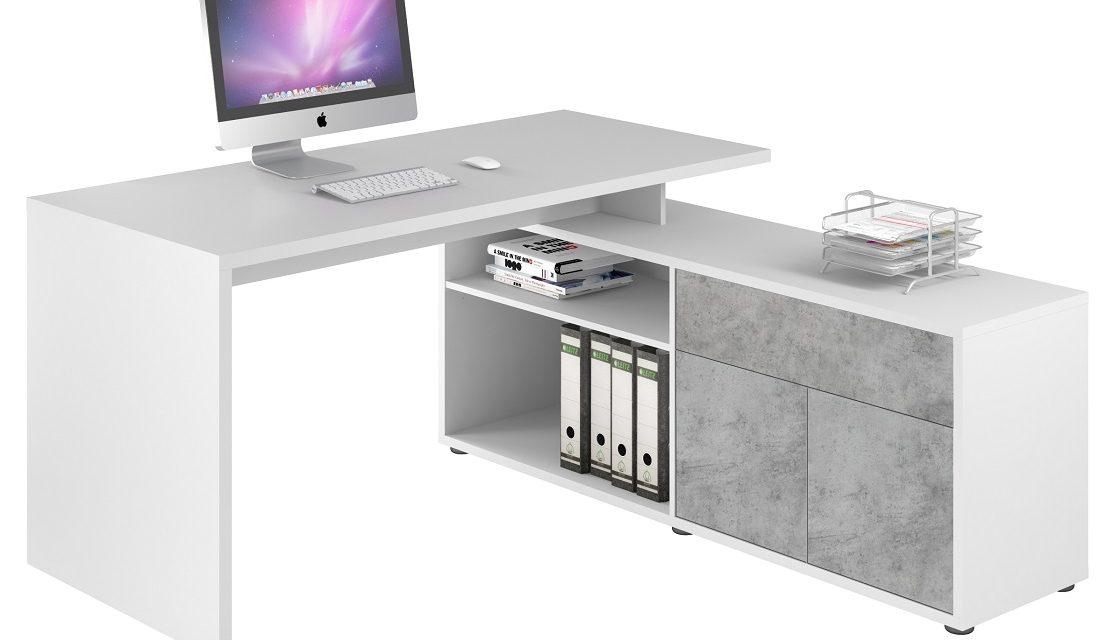 Computer hoekbureau Flex – Wit met grijs beton | Bermeo
