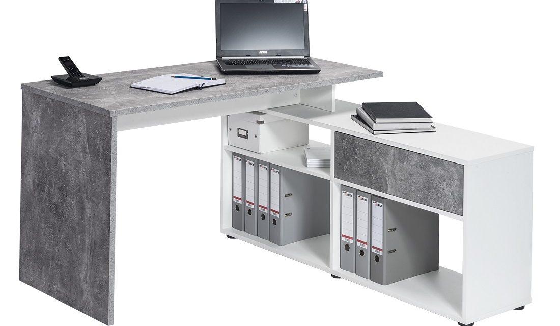 Computer hoekbureau Ronny – Grijs beton | Bermeo