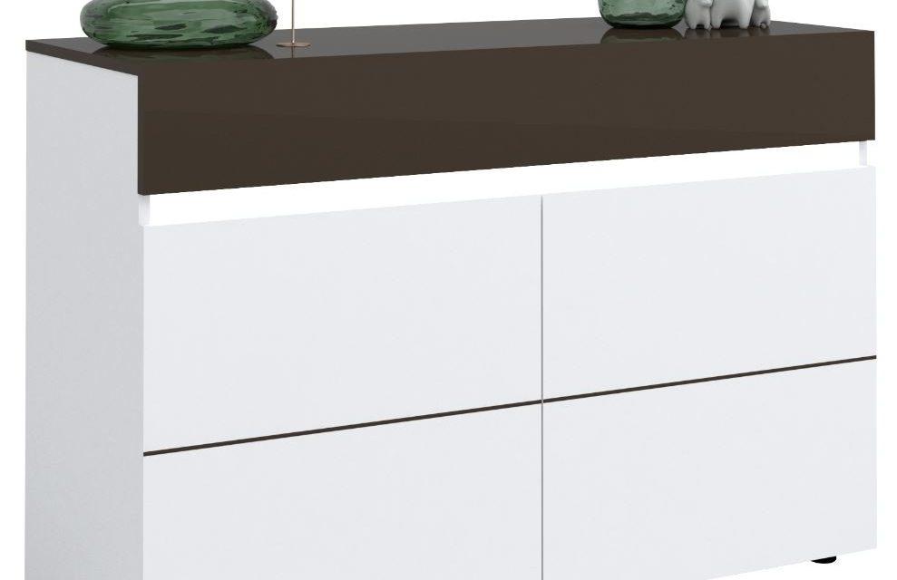 Dressoir Karat van 135 cm breed – Hoogglans wit met antraciet | Ameubelment
