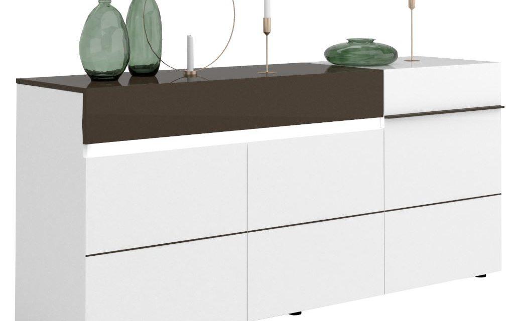 Dressoir Karat van 200 cm breed – Hoogglans wit met antraciet | Ameubelment