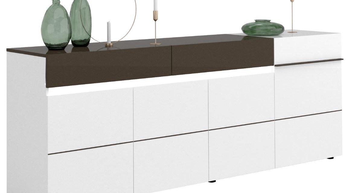 Dressoir Karat van 240 cm breed – Hoogglans wit met antraciet | Ameubelment