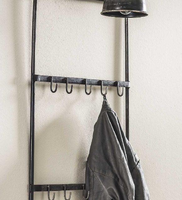 Kapstoklamp Industrial van 44 cm breed met 10 haken – Oud zilver | Zaloni