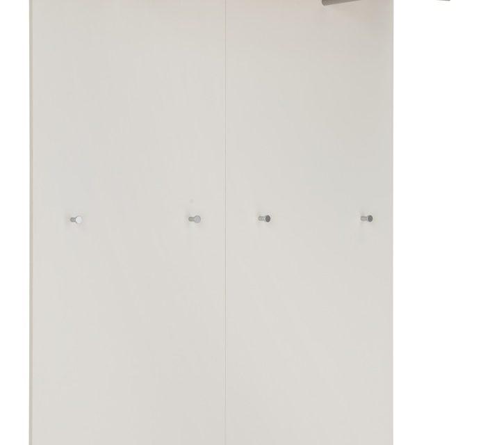 Kapstokpaneel Topix 147 cm hoog – Wit met Navarra eiken   Alamania