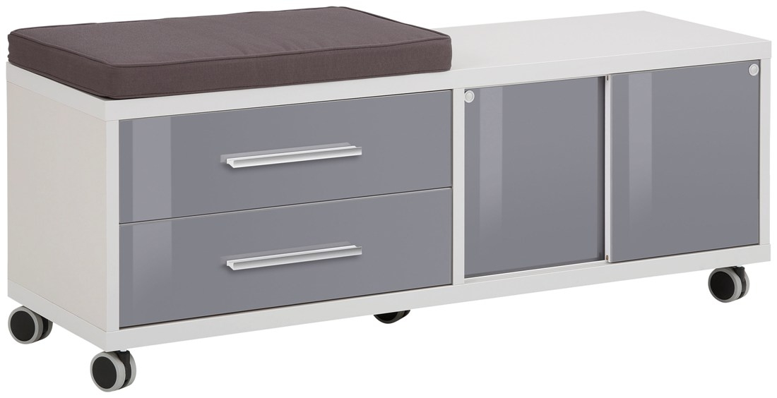 Ladeblok Banco 133 cm breed – Platina grijs met grijs   Bermeo