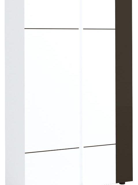 Opbergkast Karat 165 cm hoog – Hoogglans wit met antraciet | Ameubelment