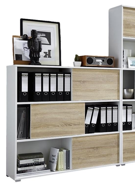 Open Boekenkast Iso 120 Cm Hoog Wit Met Eiken Alamania