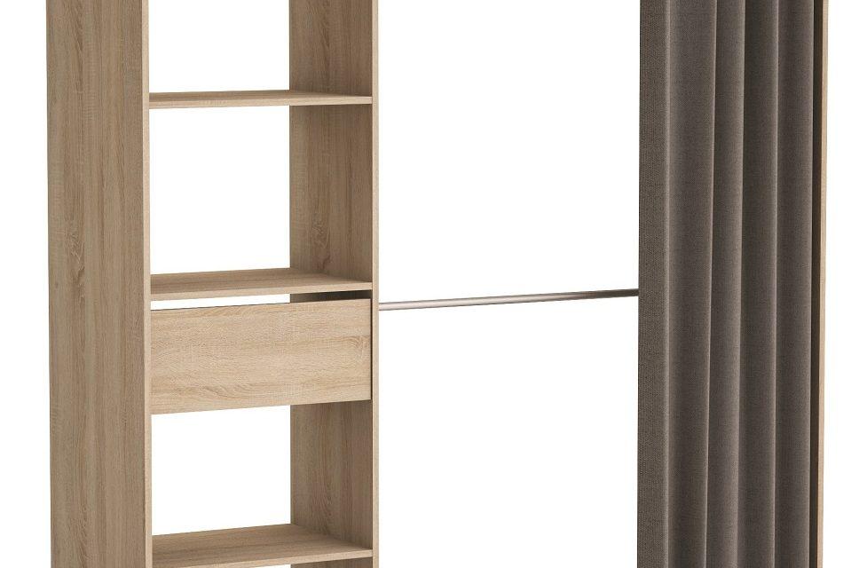 Open kledingkast Chicago 187 cm hoog – Geborsteld eiken | Young Furniture