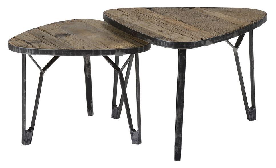 Salontafel Set Levervormig van 40 en 45 cm hoog – Robuust hardhout | Zaloni