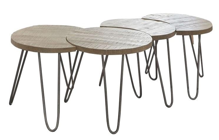 Salontafel Set Stam Licht bruin – set van 4 tafels | Zaloni