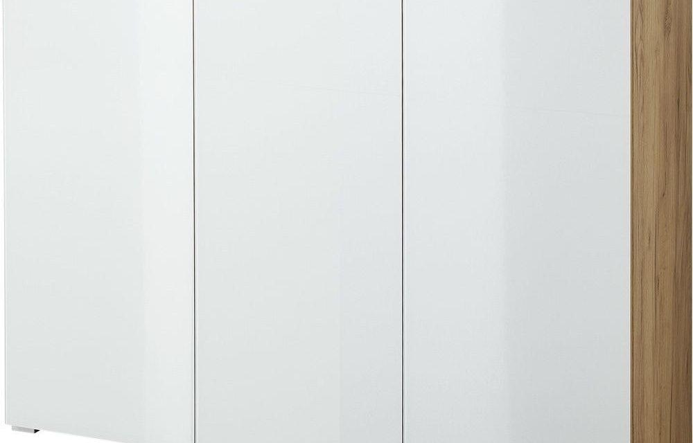 Schoenenkast Telde 134 cm breed – Navarra Eiken met wit | Alamania