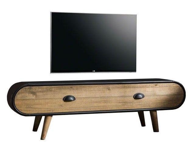 Tv-meubel Trunk 120 cm breed – Zwart met eiken   Zaloni