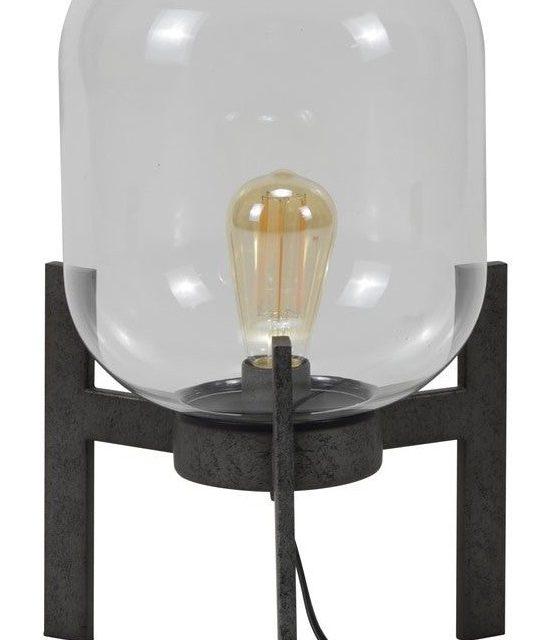 Tafellamp Devan Ø28 van 44 cm hoog – Oud zilver | Zaloni