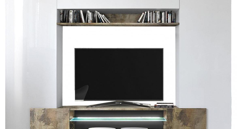 Tv Wandmeubel set Incastro 191 cm hoog – Hoogglans wit met eiken | Pesaro Mobilia