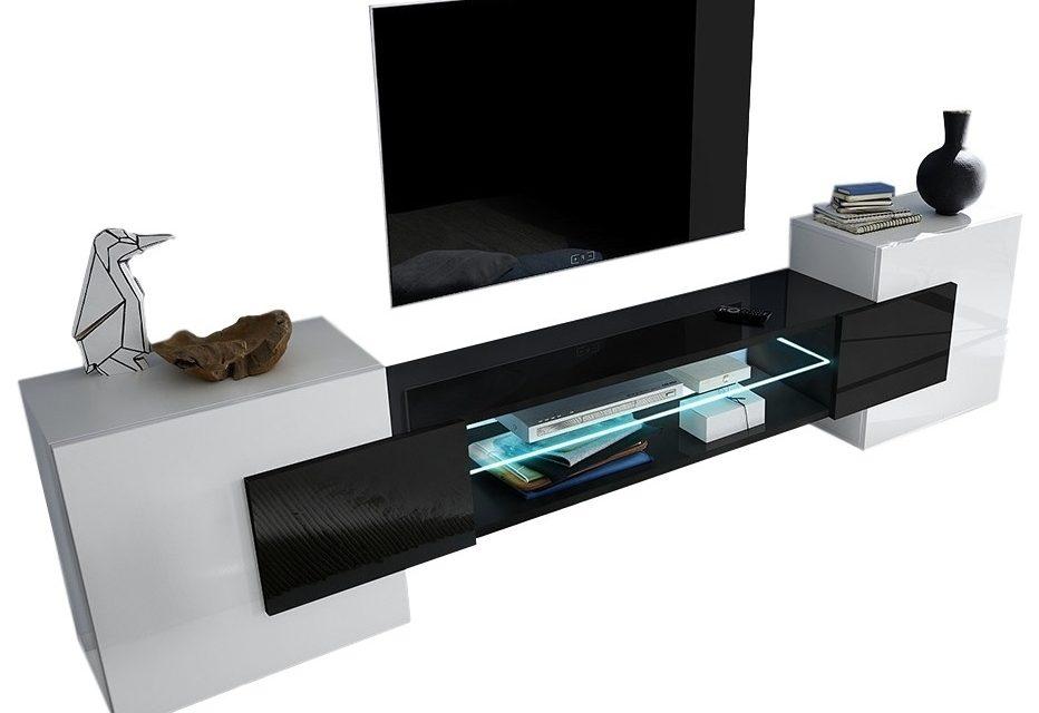 Tv Wandmeubel set Incastro 61 cm hoog – Hoogglans wit met zwart | Pesaro Mobilia