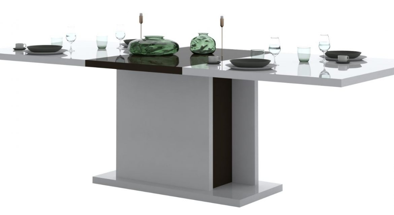 Uitschuifbare eettafel Karat 180 tot 225 cm breed – Hoogglans wit | Ameubelment