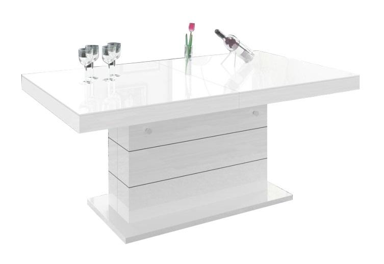Uitschuifbare salontafel Matera Lux 120 tot 170 cm breed – hoogglans wit | Hubertus Meble