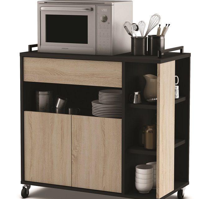 Verrijdbaar keukenkast Indus 77 cm hoog – Eiken met zwart | Young Furniture
