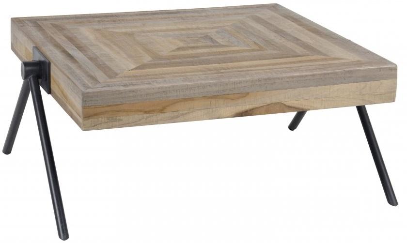 Vierkante salontafel Bella 70x33x70 cm breed – Teakhout verweerd | Zaloni