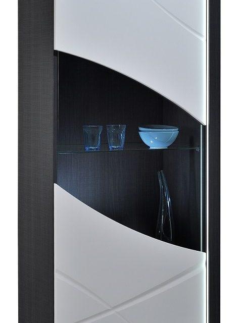 Vitrinekast Elypse 170 cm hoog – Hoogglans Wit met Bruin eiken | Ameubelment
