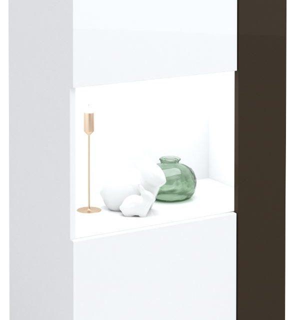 Vitrinekast Karat 125 cm hoog – Hoogglans wit met antraciet | Ameubelment