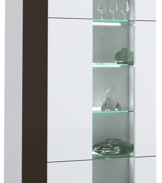 Vitrinekast Karat 165 cm hoog – Hoogglans wit met antraciet | Ameubelment