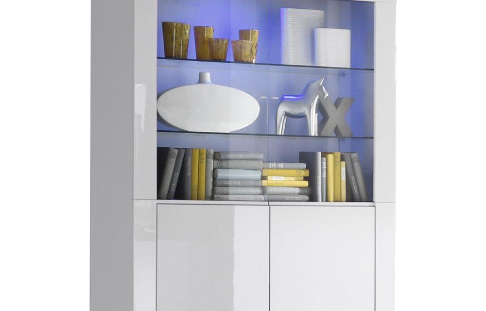 Vitrinekast Malifi 2 Deurs 170 cm hoog – Hoogglans wit | Pesaro Mobilia