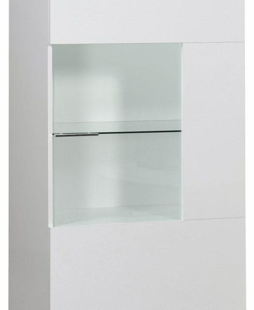 Vitrinekast Ovio 143 cm hoog – Hoogglans Wit | Ameubelment