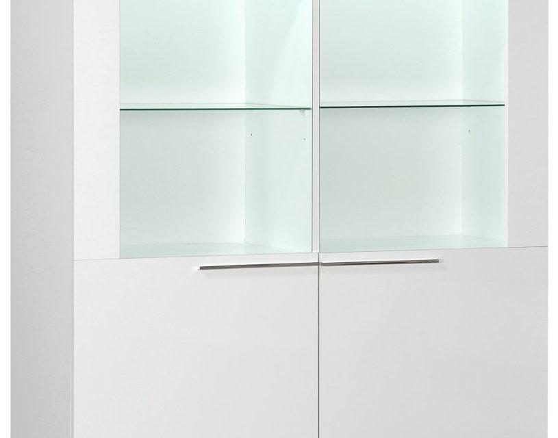 Vitrinekast Ovio 160 cm hoog – Hoogglans wit | Ameubelment