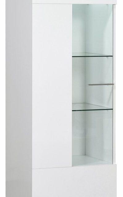 Vitrinekast Ovio 170 cm hoog – Hoogglans wit | Ameubelment