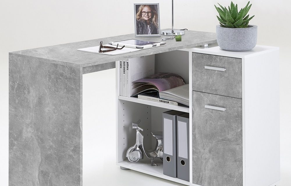 Albert Computer Hoekbureau in grijs beton met wit | FD Furniture