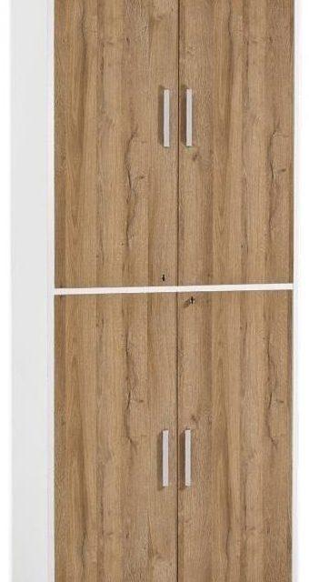 Archiefkast Calvia van 222 cm hoog – wit met oud eiken | FD Furniture