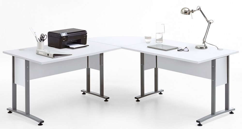 Computer hoekbureau Calvia van 200 cm breed in wit | FD Furniture