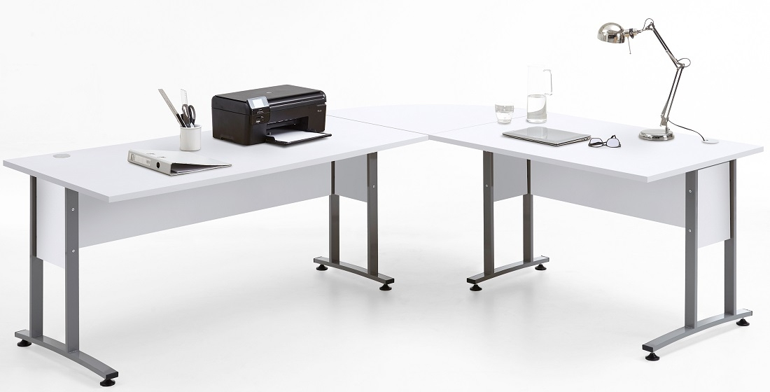 Computer hoekbureau Calvia van 240 cm breed in wit | FD Furniture