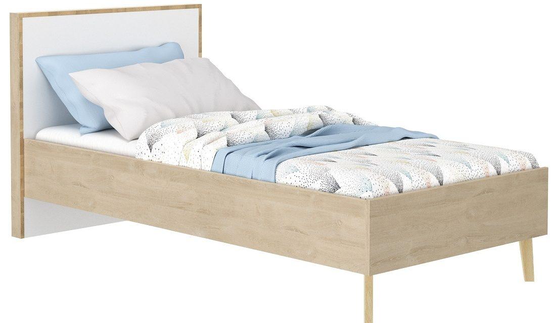 Eenpersoonsbed Larvik 90x190cm in eiken met wit Slaapkamerserie | Bordini Furniture
