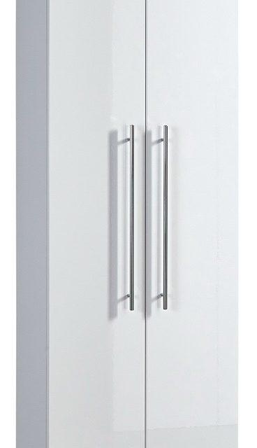 Kledingkast Indoor 198 cm hoog – Wit met Hoogglans Wit   Alamania
