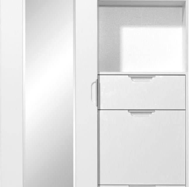 Kledingkast Sliding 193 cm hoog – Wit met Hoogglans Wit | Alamania