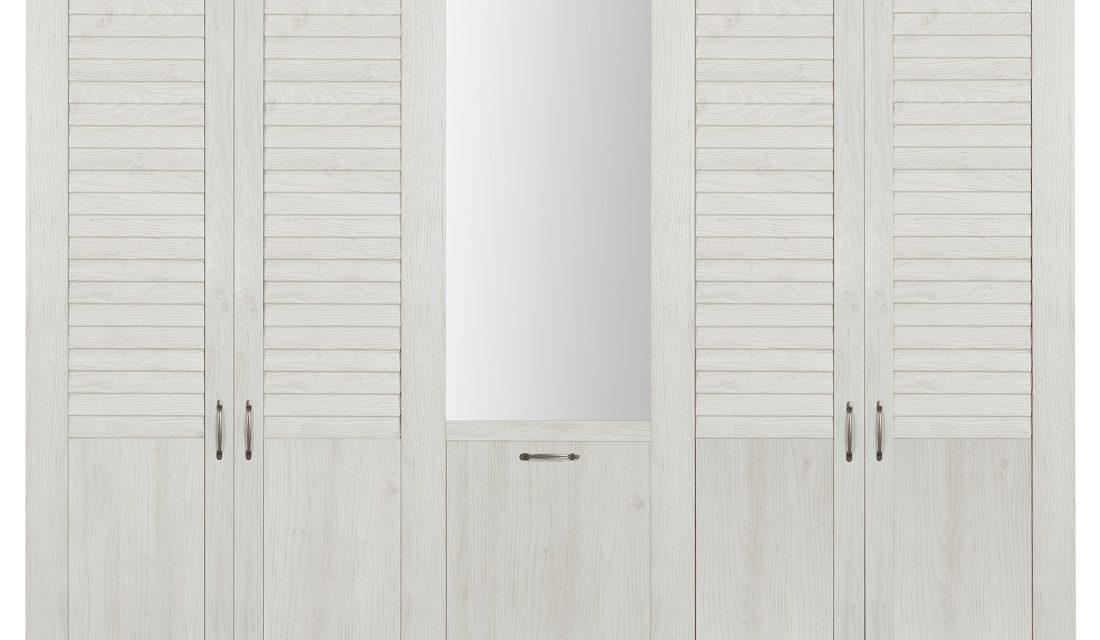 Kledingkast Thelma 230 cm breed in gekalkte kastanjehout | Bordini Furniture