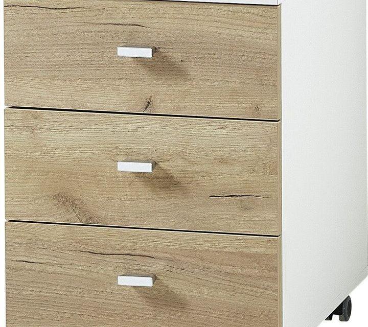 Ladeblok Lioni 58 cm hoog – Wit met Navarra eiken | Alamania