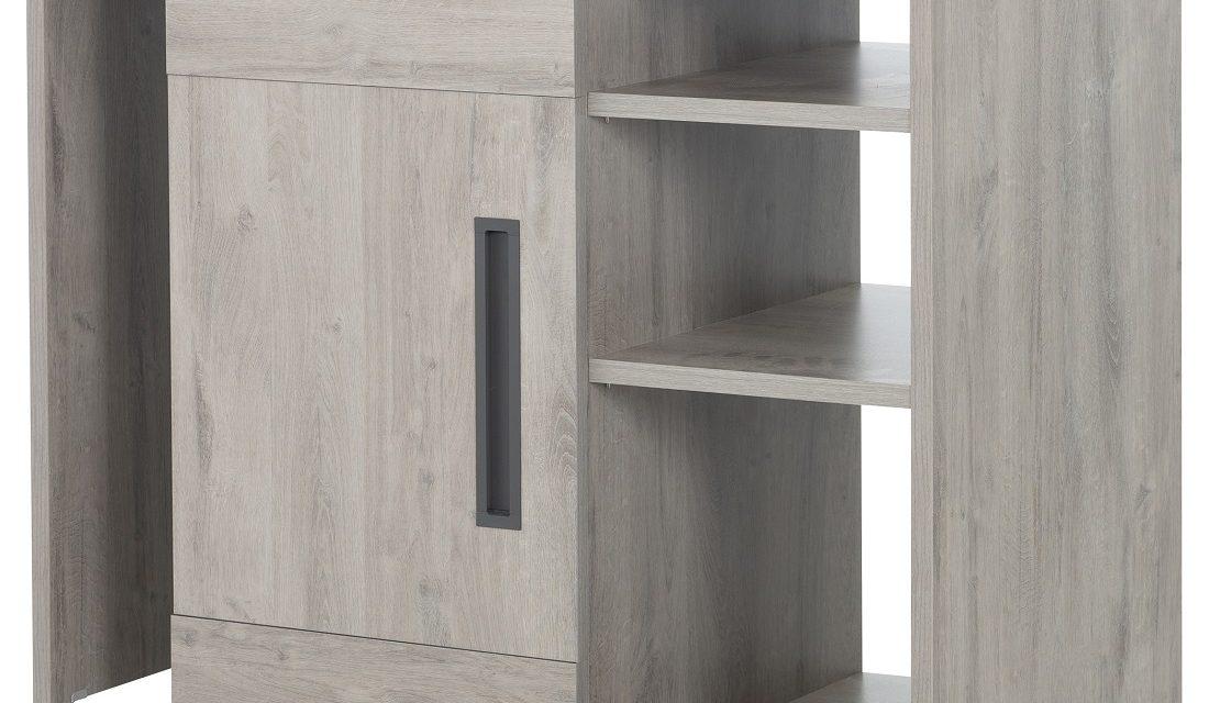 Multifunctioneel barkast Boston 102 tot 160 cm breed in licht grijs eiken | Gamillo Furniture