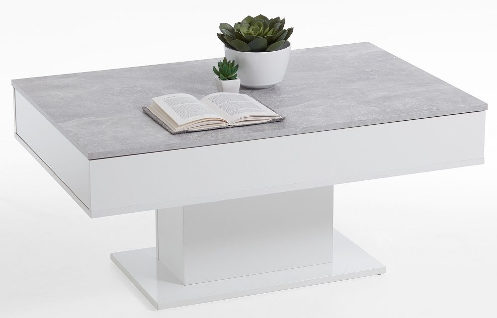 Salontafel Avola 100 cm breed in Grijs beton met wit | FD Furniture