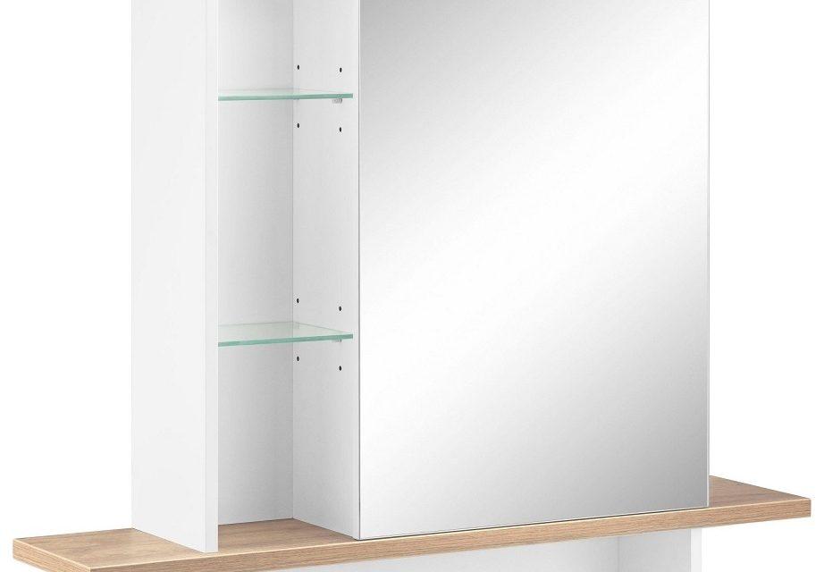 Spiegelkast Novolino 90 cm breed – Wit met Navarra eiken | Alamania