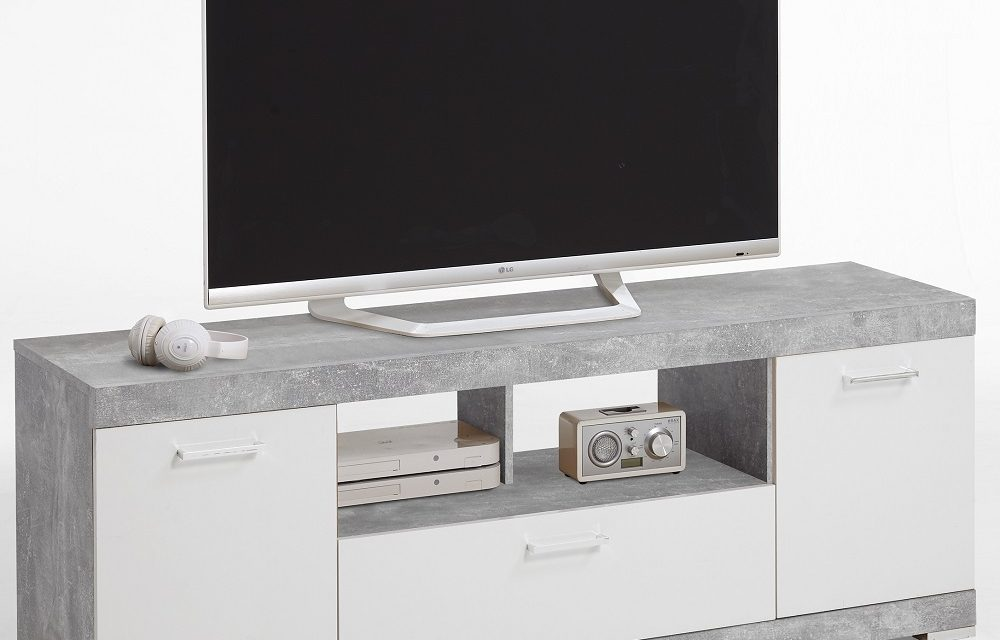 TV Meubel Bristol 160 cm breed – Grijs beton met wit | FD Furniture