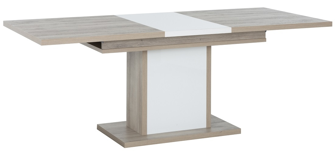 Uitschuifbare eettafel Aston 160 tot 208 cm breed in kronberg eiken met wit | Gamillo Furniture