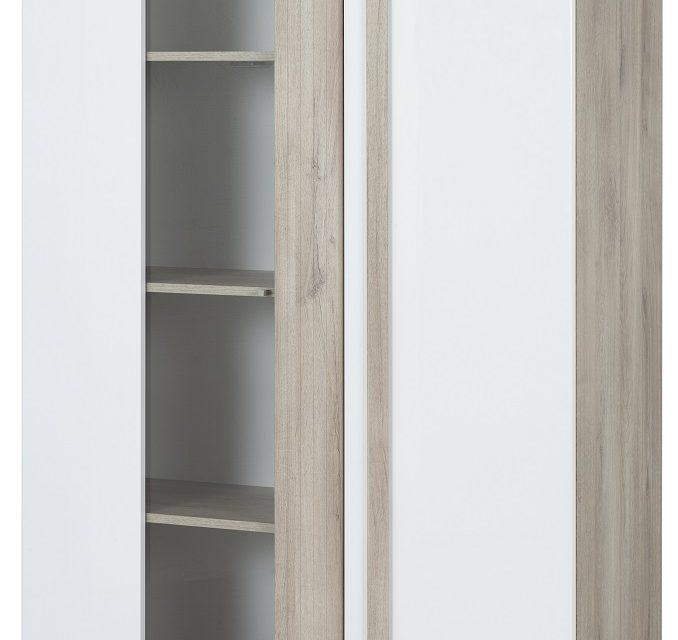 Vitrinekast Aston L van 180 cm hoog in kronberg eiken met wit | Bordini Furniture